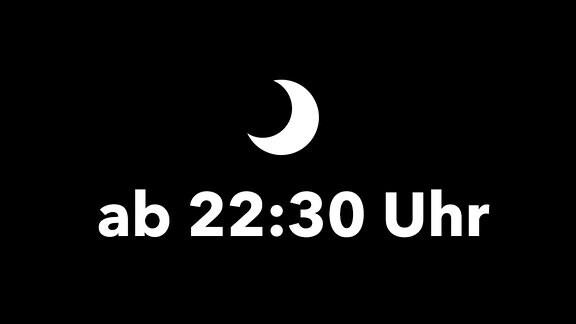 """MDR KLASSIK Relaunch Hintergrund-Illustration Schwarzer Hintergrund, darauf Piktogramm Mond und Text """"ab 22:30 Uhr"""""""