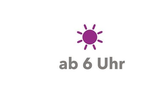 """MDR KLASSIK Relaunch Hintergrund-Illustration violettes Sonnenpiktorgramm, dazu Beschriftung """"ab sechs Uhr"""""""