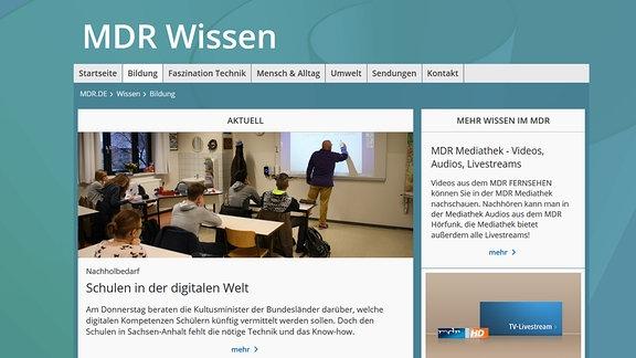 Bild von Startseite mdr.de/wissen/bildung