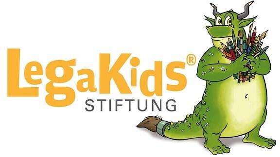 Logo legakids.net , Krokodil mit Buntstifte