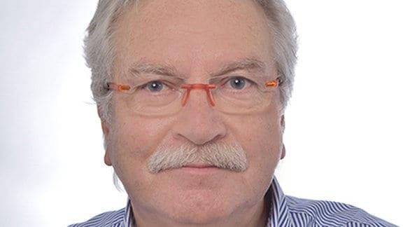 Mann mit grauen Haaren, grauem Schnautzbart, Brille und blau-weiß gestreiftem Hemd schaut in die Kamera