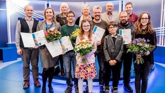 Gewinner und Juroren des Kinderhörspielpreises des MDR Rundfunkrates 2018