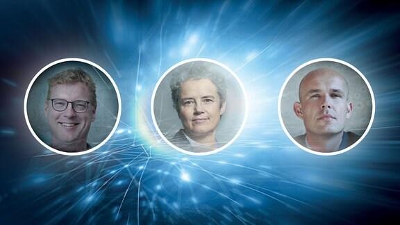 Podcast Logo mit den Gesichtern der drei Gäste