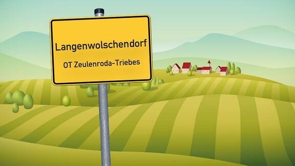 Ortseingangsschild Langenwolschendorf
