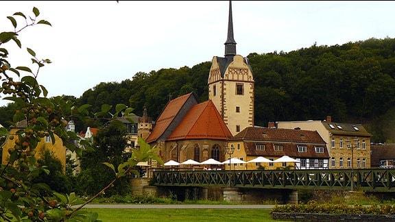 Blick auf den Stadtteil Gera-Untermhaus mit Untermhäuser Brücke an der Weißen Elster