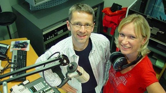 Matthias Haase und Sina Waage im Studio