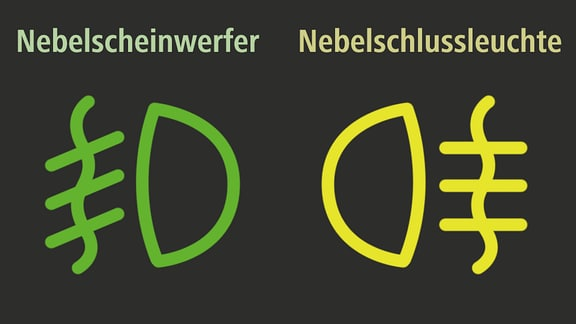 Symbole für die Nebelschlussleuchte und den Nebelscheinwerfer im Auto-Cockpit