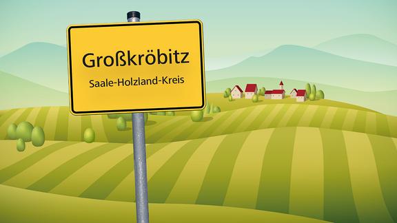 Grafik mit Ortsschild von Großkröbitz vor Dorf und Feldern