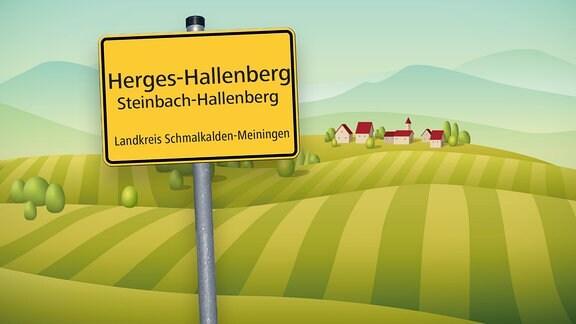 Grafik mit Ortsschild von Herges-Hallenberg im Kreis Schmalkalden-Meiningen und Hügeln sowie Häusern