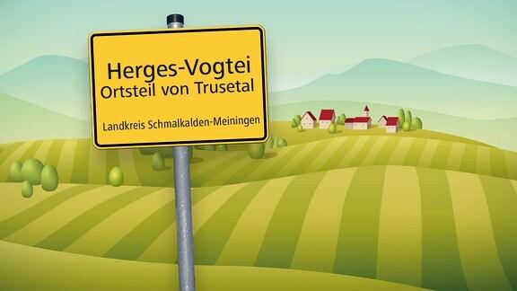 Grafik mit Ortsschild von Herges-Vogtei im Kreis Schmalkalden-Meiningen und Hügeln sowie Häusern