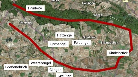 Landkarte mit markierten Orten von Hainleite, Westerengel, Kirchengel, Holzengel, Feldengel, Kindelbrück, Clingen, Greußen, Großenehrich.