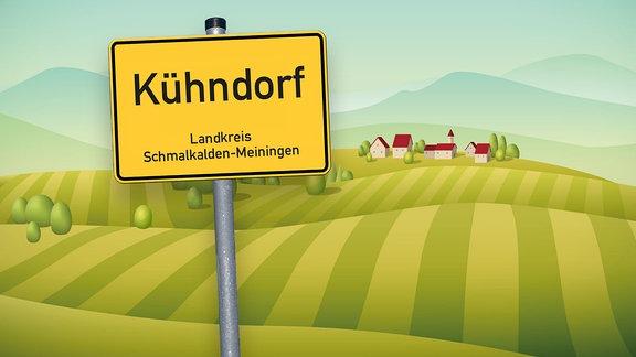 Grafik mit Ortsschild von Kühndorf im Landkreis Schmalkalden-Meiningen und Hügeln sowie Häusern