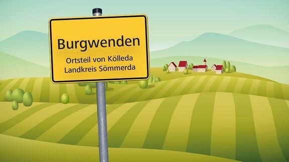 Illustration des Ortsschildes von Burgwenden vor Feldern und Häusern