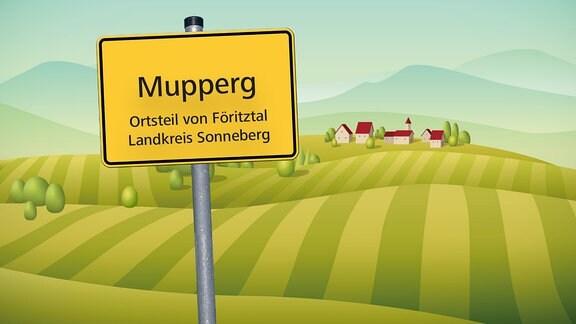 Illustration des Ortsschildes von Mupperg vor Feldern und Häusern