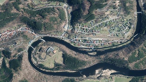 Luftbild von Ziegenrück an der Saale