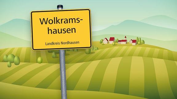 Grafik mit Ortsschild von Wolkramshausen im Kreis Nordhausen und Hügel sowie Häusern