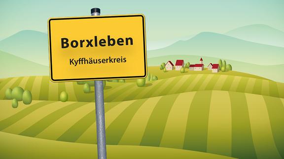 Ortsschild-Grafik von Borxleben im Kyffhäuserkreis