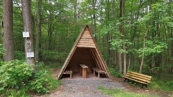 Eine Wanderhütte