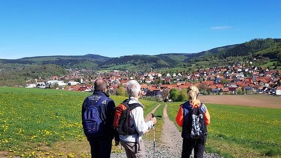 Wanderer blicken auf eine Stadt