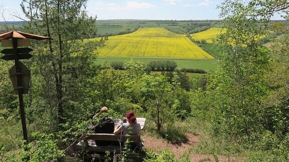 Blick über Felder in einem Tal