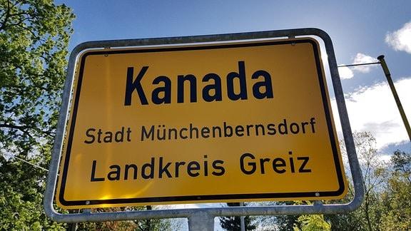 Ein Ortsschild von Kanada in Thüringen