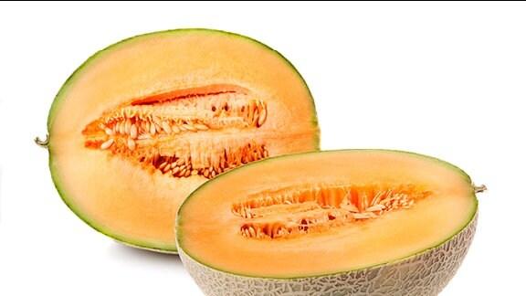 Eine aufgeschnittene Cantaloup-Melone.