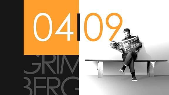 """Teaserbild für GRIMBERG – Die Kolumne am  4. September 2018: Schriftzug """"04/09""""."""