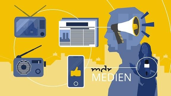 Stilisierte Person mit Mikrophon in der Hand sowie Abbildungen von Zeitung, Radio, Fernsehen und Smartphone.