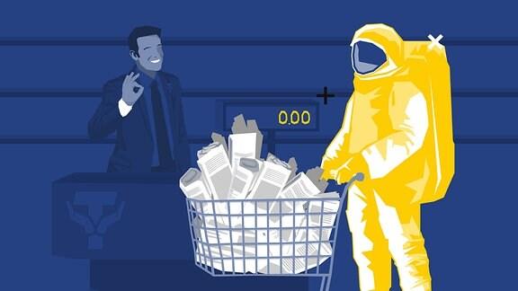 Stilisierte Grafik: Astronaut mit Einkaufswagen voller Zeitungen. Daneben ein strahlender Verkäufer.