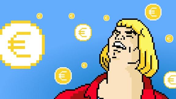 Auf Computerspielcharakter regnen Euromünzen.