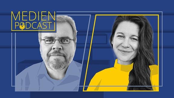 Porträt der Gesprächspartner Steffen Grimberg und Mandy Tröger.
