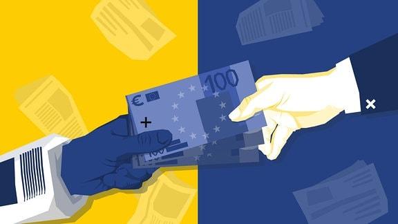Eine Hand im normalen Jacket reicht einer anderen Hand in einem Zeitungsjacket ein Bündel Geldscheine.