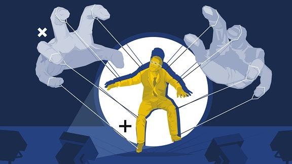 Grafik von einem stilisierten Paar Hände, die eine Person im Spotlicht als Marionette halten.