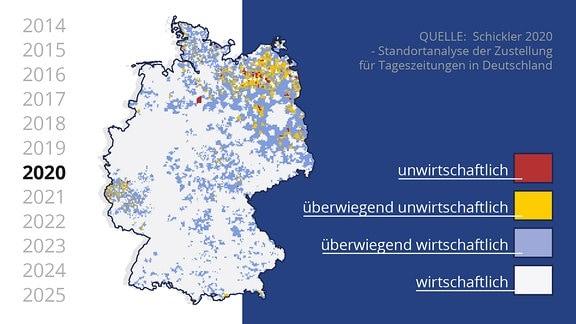 Deutschlandkarte mit wenigen farbigen Punkten.
