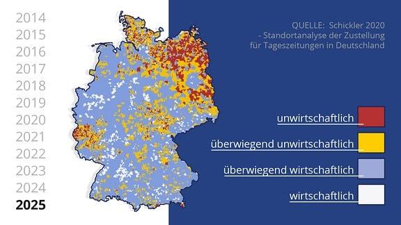 Deutschlandkarte mit vielen farbigen Punkten.