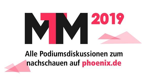 Das Logo der Medientage Mitteldeutschland 2019 (MTM2019) auf weißem Hintergrund.