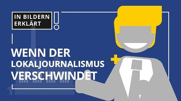 Ein Mann steht vor einer Fabrik und spricht in ein Mikrofon. Er hat den Daumen der rechten Hand gehoben und lächelt. Daneben der Schriftzug: Wenn der Lokaljournalismus verschwindet.