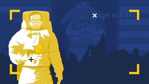 Stilisierte Grafik: Martin Machowecz in einem Astronautenanzug und Mikrofon in der Hand.