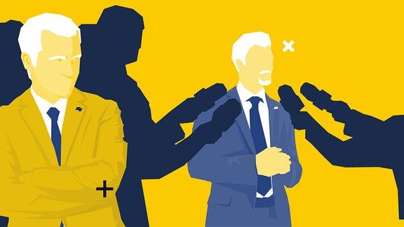 Silhouetten mit Mikrofonen in der Hand richten sich an eine Person. Eine weitere Person steht unbeachtet daneben, überkreuzt die Arme und blickt zur Seite.