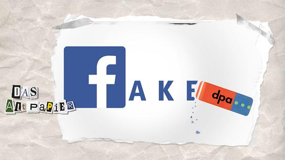 """Logo von """"Facebook"""" verbunden zum Wort """"fake"""" mit einem Radiergummi ,it dem Logo """"dpa"""""""