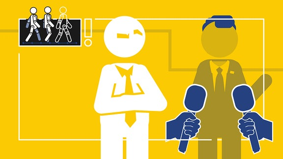 Zwei stilisierte Menschen im Anzug. Einer steht deutlich erkennbar. Ihm werden zwei Mikrofone entgegen gehalten. Der andere Mensch steht mit verschränkten Armen daneben und ist schwächer zu sehen.