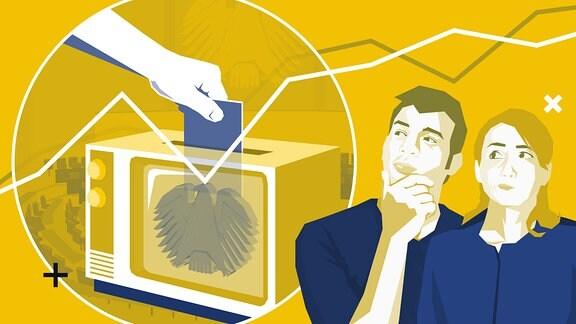 Stilisierte Grafik zeigt im Vordergrund einen Mann und eine Frau mit nachdenklichen Gesichtern, im Hintergrund ist eine Hand zu sehen, die einen Wahlzettel oben in einen alten Fernseher einwirft. Der Fernseher hat einen Schlitz wie eine Wahlurne. Auf der Mattscheibe ist ein Bundesadler abgebildet.
