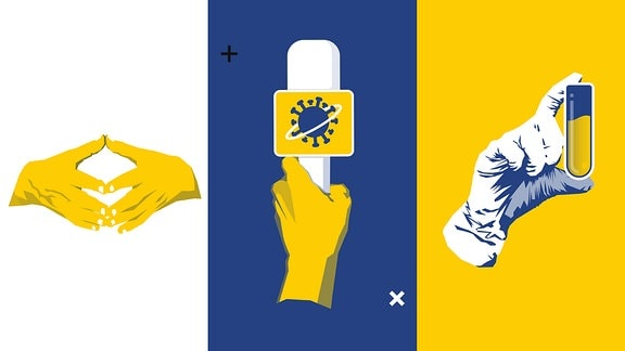 Stilisierte Merkelraute, Mikrofon mit Corona-Virus-Symbol, Hand mit Reagenzglas