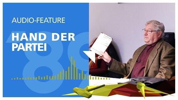 """Schriftzug """"Hand der Partei"""" und eine zertrümmerte DDR-Fahne. Außerdem Bild von Karl-Heinz Röhr."""
