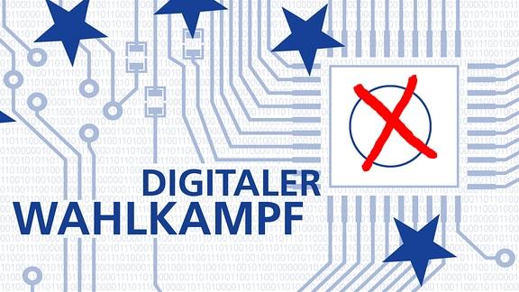 Datennetzwerk mit dem Schriftzug Digitaler Wahlkampf. Außerdem ein Kästchen mit rotem Kreuz sowie die Sterne der EU-Flagge.