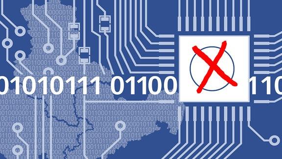 Datennetzwerk mit den Zahlen 1 und 0. Außerdem ein Kästchen mit rotem Kreuz.
