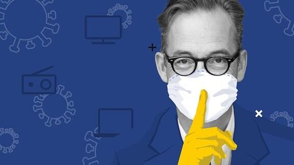 Porträt von Jan Fleischhauer mit stilisiertem Mundschutz und einem Zeigefinger davor