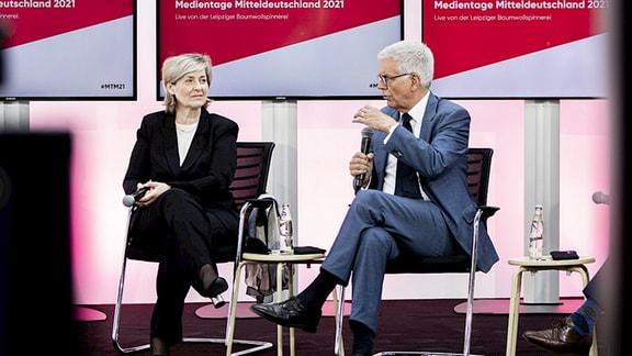 Karola Wille im Gespräch mit Thomas Bellut bei den Medientagen Mitteldeutschland.