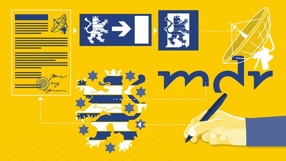 Collage aus grafischen Elementen, die das Thüringer Landeswappen - einen Löwen - und ein Symbol eines Notausgangs zeigen. Darüber hinaus ist ein Papier mit Siegelwappen, das MDR-Logo sowie eine Hand mit einem Stift zu sehen.