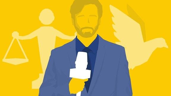 Mann mit Mikrofon im Vordergrund. Im Hintergrund Justitia und Taube.